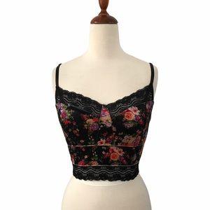 Signature8 Black Floral Lace Trim Crop Top Bustier